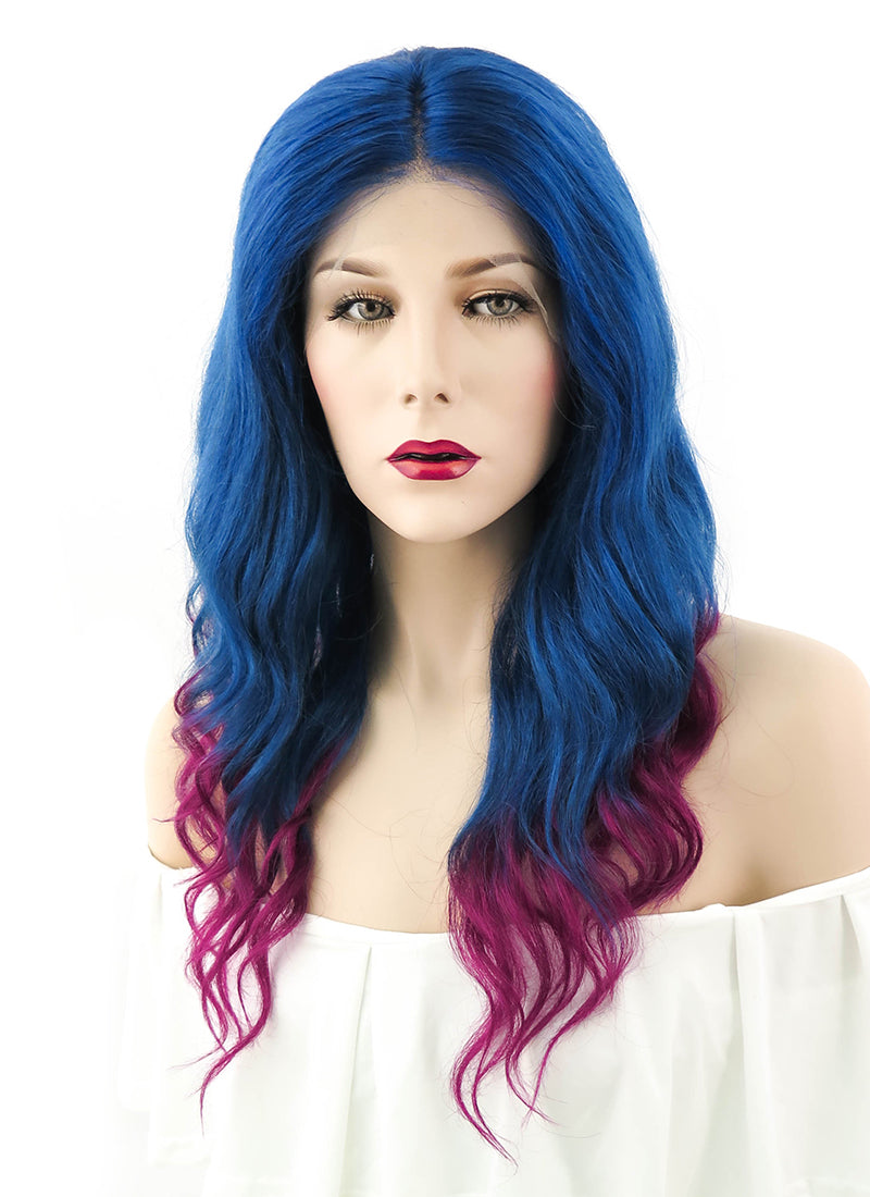 "18"" Long Curly Royal Blue Mixed Dark Magenta Ombre Lace Front Remy Natural Hair Wig HH052"