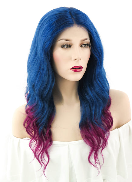 "18"" Long Curly Royal Blue Mixed Dark Magenta Ombre Lace Front Remy Natural Hair Wig HH052 - wifhair"