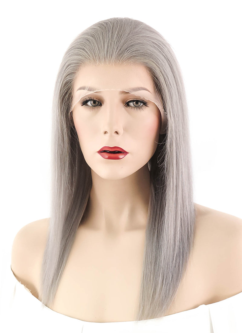 "14"" Long Straight Silver Grey Full Lace Remy Natural Hair Wig HH053 - wifhair"