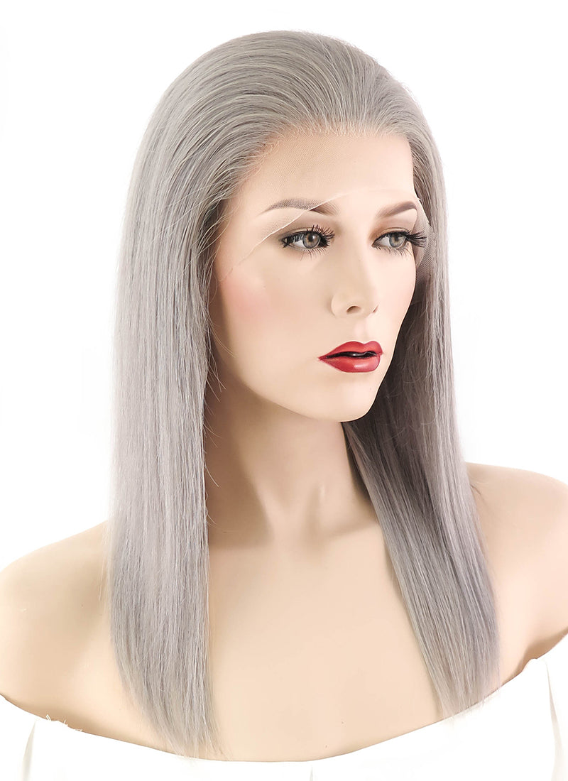 "14"" Long Straight Silver Grey Full Lace Remy Natural Hair Wig HH053"