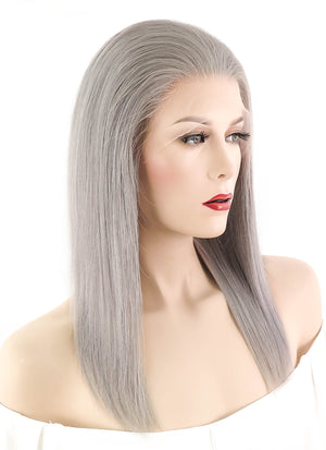 "14"" Medium Straight Silver Grey Full Lace Remy Natural Hair Wig HH053 - wifhair"