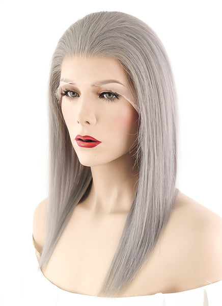 "14"" Medium Straight Light Grey Full Lace Remy Human Hair Wig HH053 (FREE SHIPPING)"