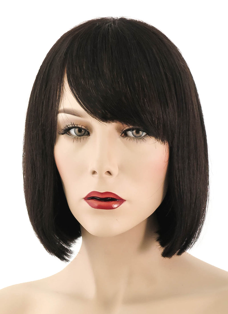 "10"" Short Straight Bob Off Black Lace Front Brazilian Natural Hair Wig HH056"