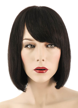 "10"" Short Straight Bob Off Black Lace Front Brazilian Natural Hair Wig HH056 - wifhair"