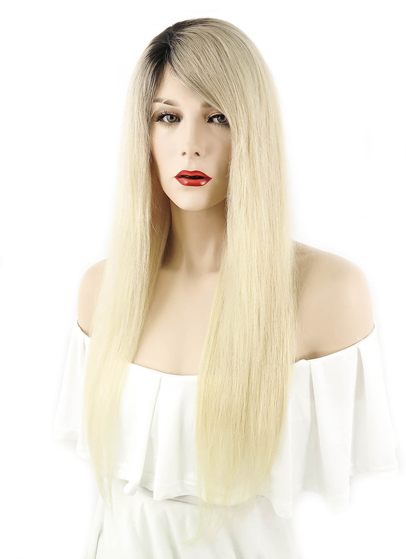 "22"" Long Straight Blonde with Dark Roots Lace Front Remy Natural Hair Wig HH057"