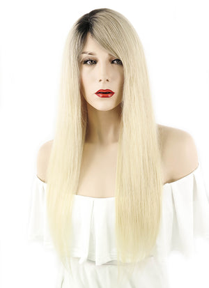 "22"" Long Straight Blonde with Dark Roots Lace Front Remy Natural Hair Wig HH057 - wifhair"