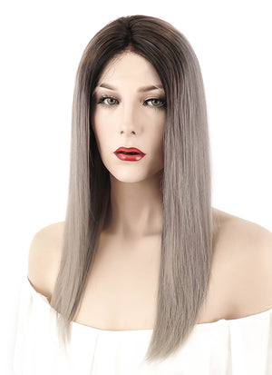 "18"" Long Straight Blonde Grey With Brown Roots Lace Front Remy Natural Hair Wig HH059 - wifhair"