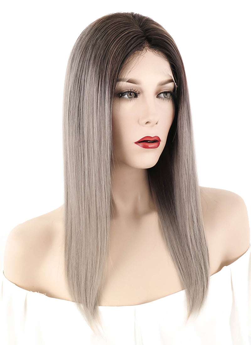 "18"" Long Straight Blonde Grey With Brown Roots Lace Front Remy Natural Hair Wig HH059"