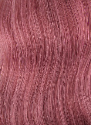 "24"" Long Curly Reddish Pink Lace Front Remy Natural Hair Wig HH060"