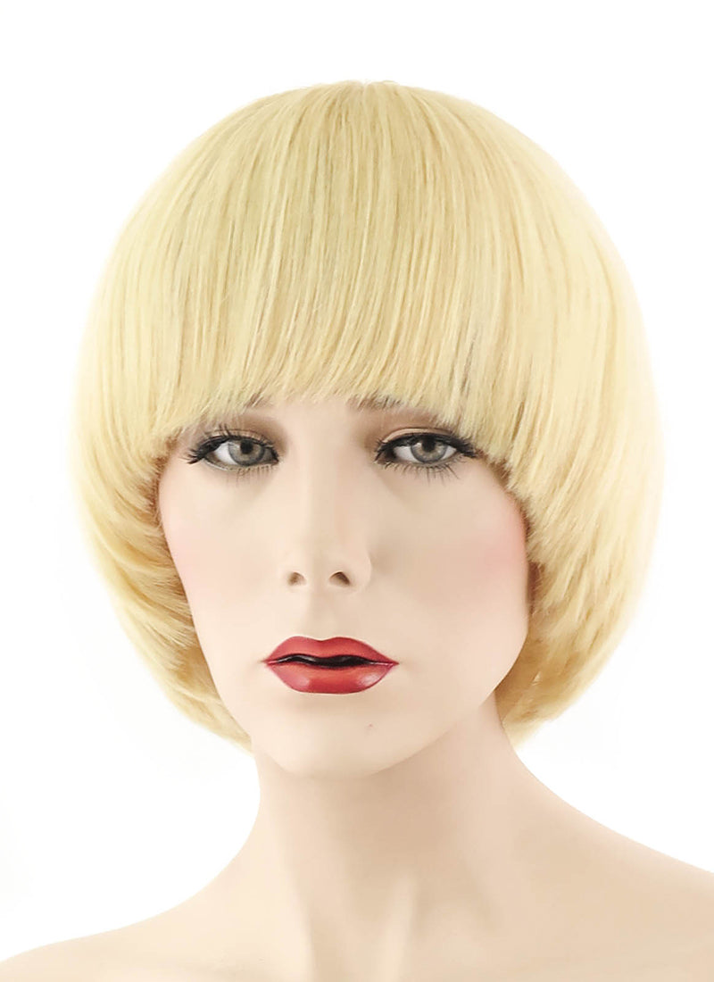 "12"" Short Straight Bob Ash Blonde Full Lace Remy Natural Hair Wig HH061 - wifhair"