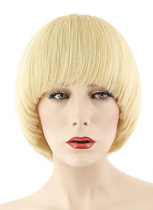 "12"" Short Straight Bob Ash Blonde Full Lace Remy Natural Hair Wig HH061"