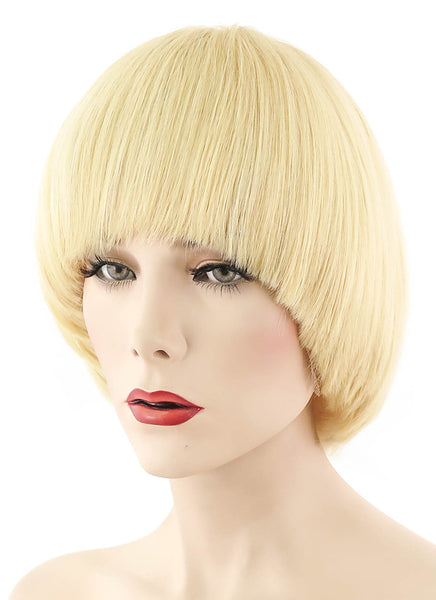 "12"" Short Ash Blonde Full Lace Remy Natural Hair Wig HH061 - wifhair"