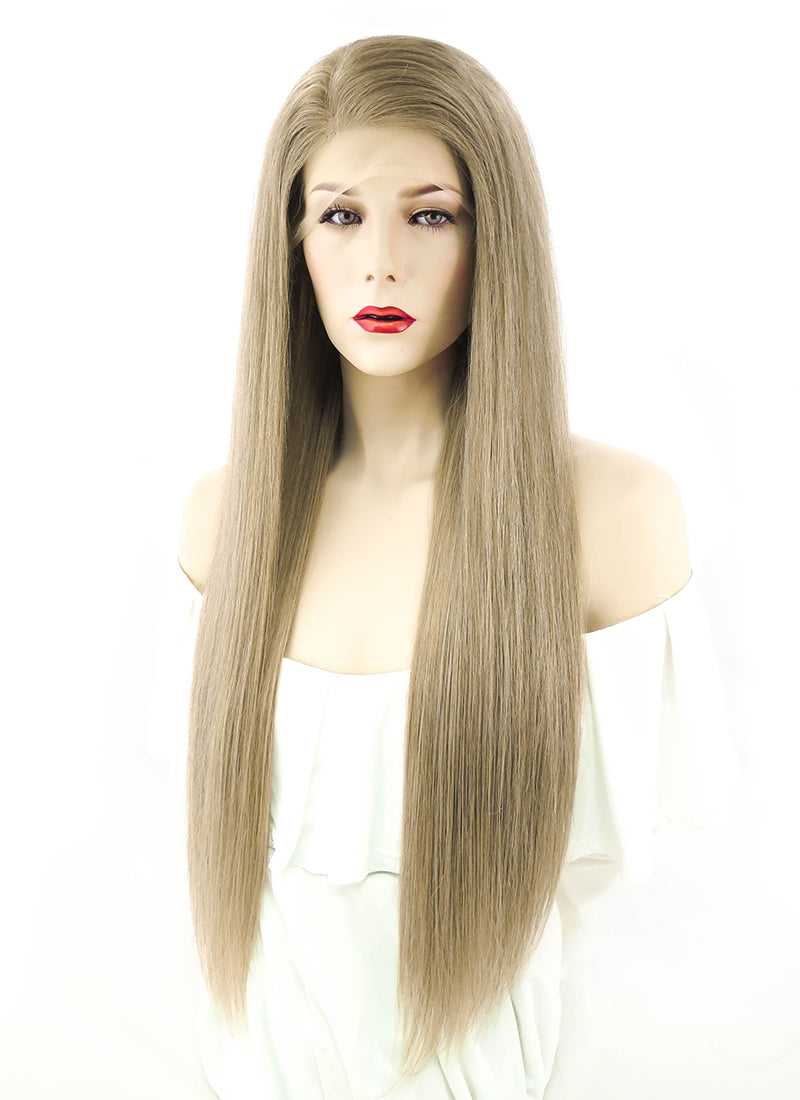 "24"" Long Straight Ash Brown Full Lace Virgin Natural Hair Wig HH062 - wifhair"