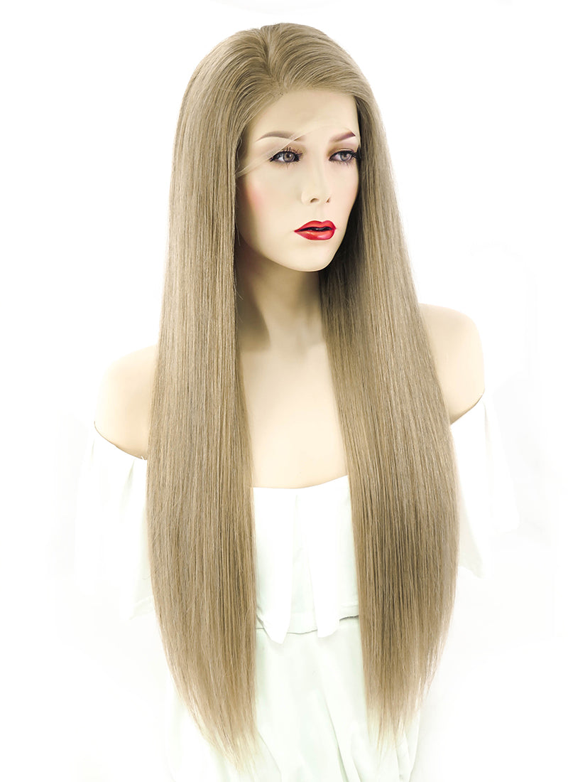 "24"" Long Straight Ash Brown Full Lace Virgin Natural Hair Wig HH062"