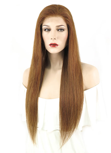 "22"" Long Straight Medium Brown Full Lace Virgin Human Hair Wig HH063 (FREE SHIPPING)"