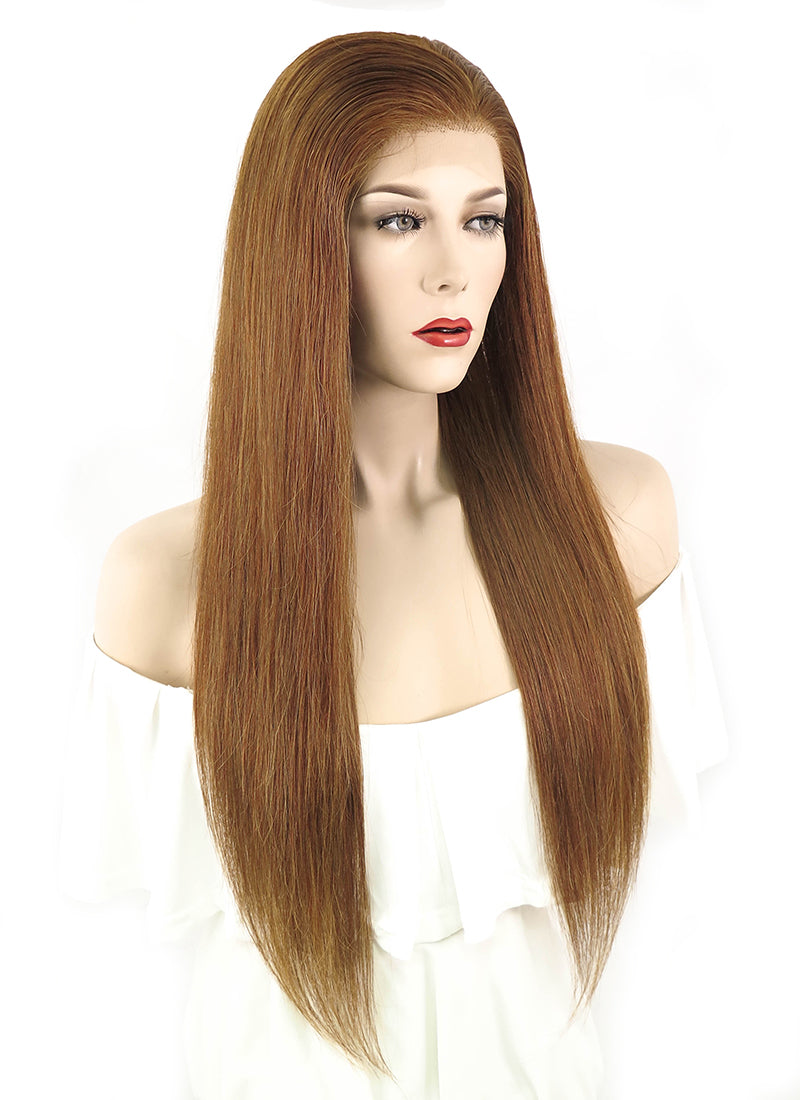 "22"" Long Straight Medium Brown Full Lace Brazilian Natural Hair Wig HH063"