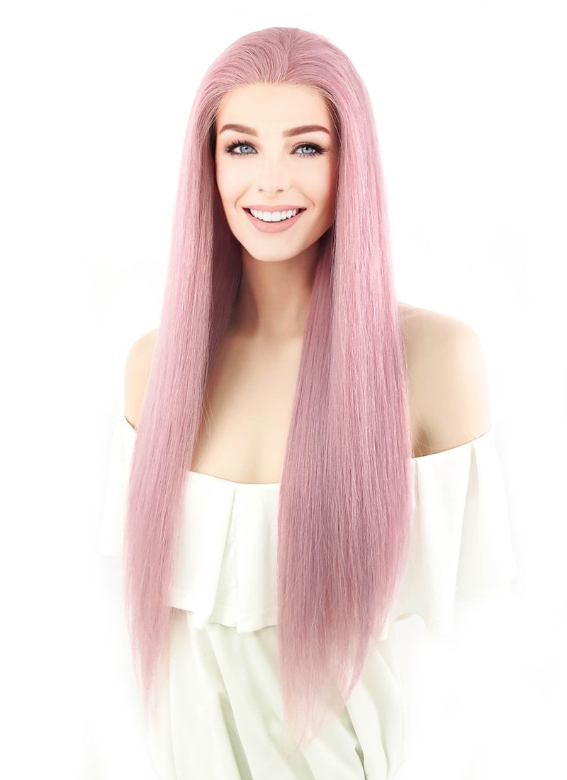 "24"" Long Straight Pink Lace Front Remy Natural Hair Wig HH064 - wifhair"