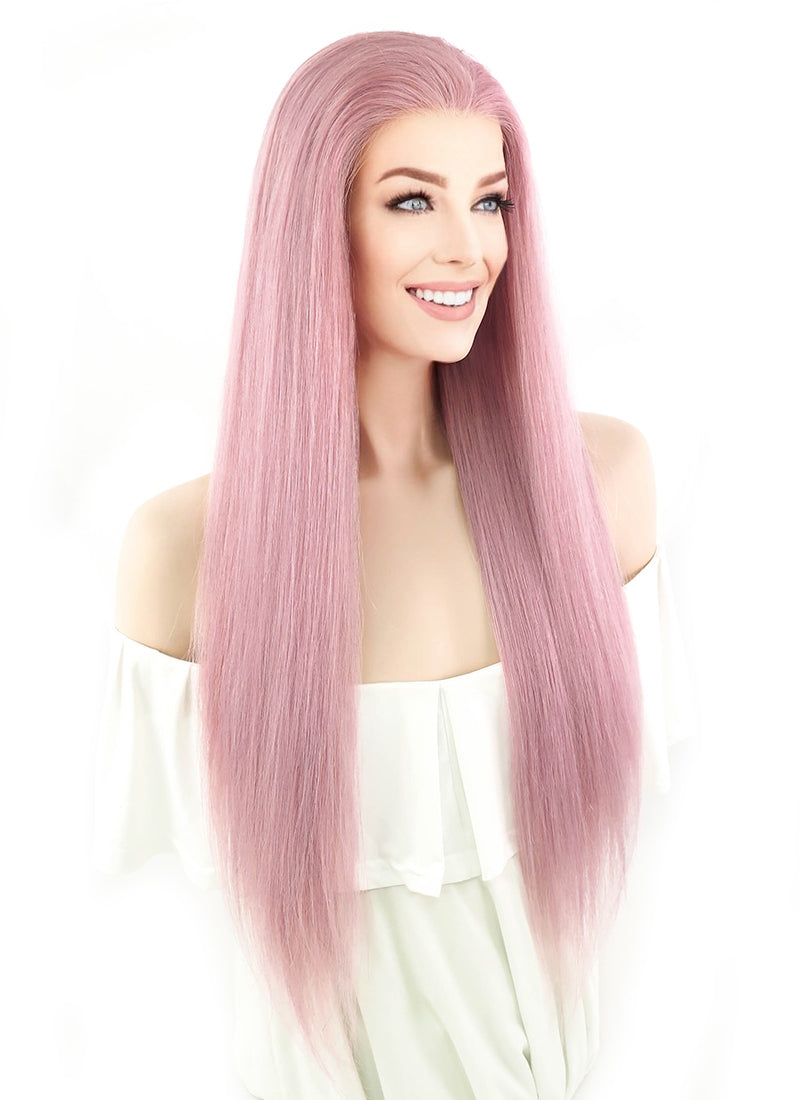 "24"" Long Straight Pink Lace Front Remy Natural Hair Wig HH064"