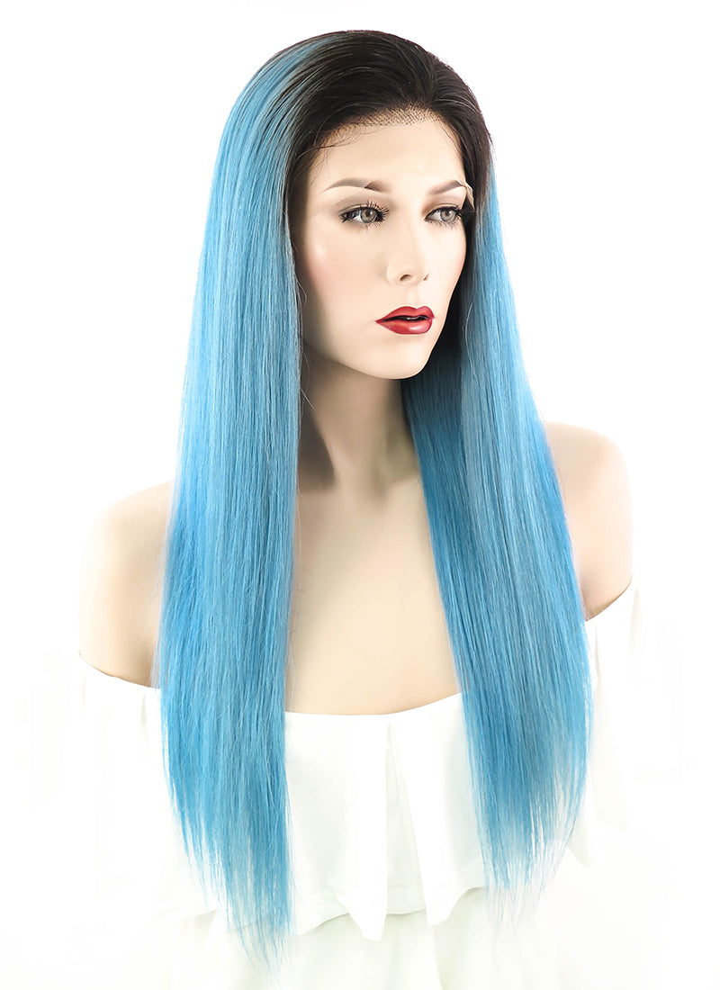 "20"" Long Straight Light Blue With Brown Roots Lace Front Remy Natural Hair Wig HH065"