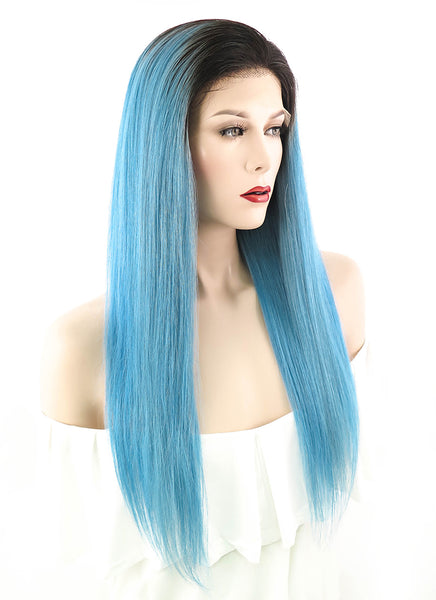 "20"" Long Straight Light Blue With Brown Roots Lace Front Remy Human Hair Wig HH065 (FREE SHIPPING)"