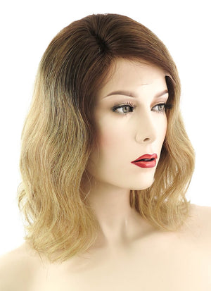 "12"" Medium Wavy Bob Light Blonde With Brown Roots Lace Front Remy Natural Hair Wig HH067 - wifhair"