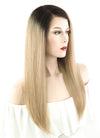 "16"" Long Straight Light Blonde With Dark Brown Roots Full Lace Virgin Natural Hair Wig HH068 - wifhair"