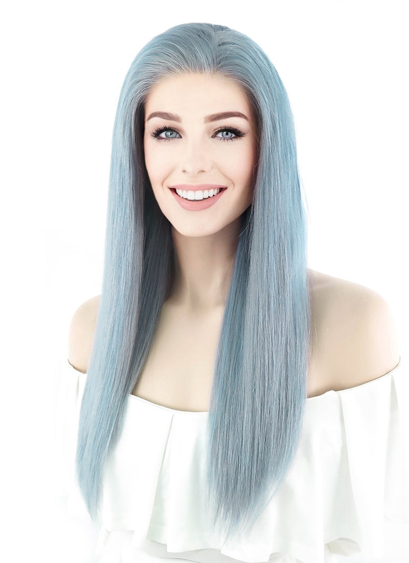 "18"" Long Straight Icy Blue Lace Front Remy Natural Hair Wig HH074 - wifhair"