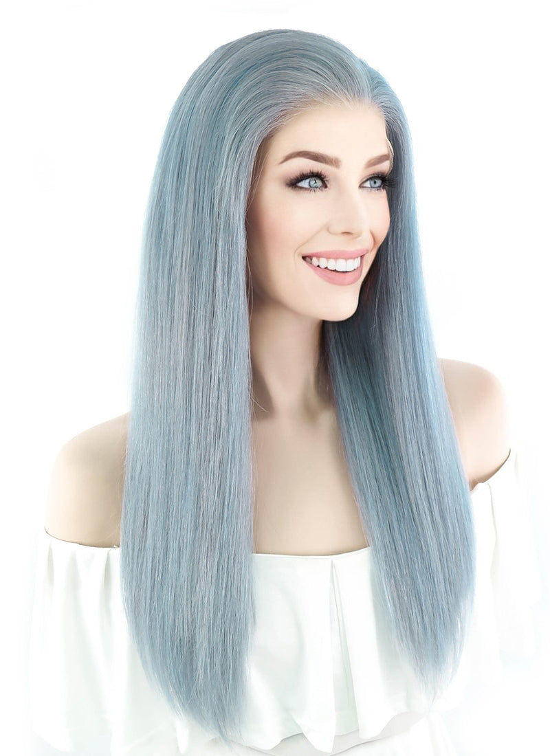"18"" Long Straight Icy Blue Lace Front Remy Natural Hair Wig HH074"
