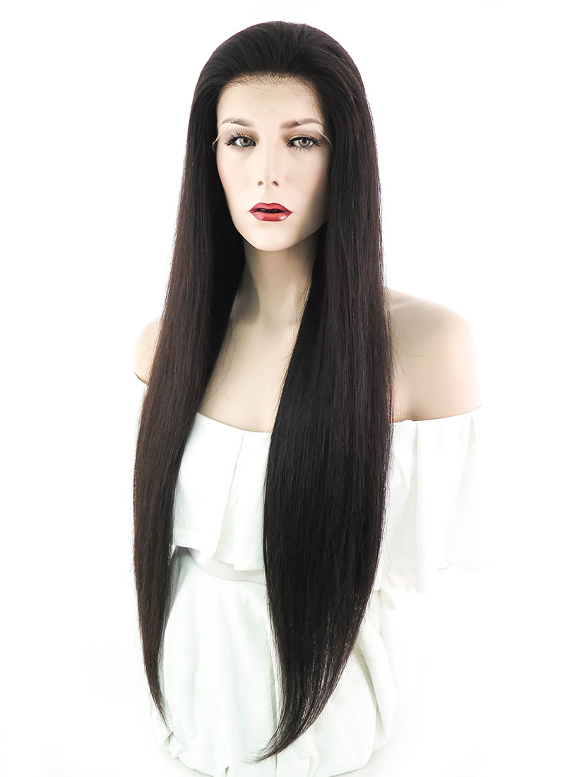 "26"" Long Straight Off Black Lace Front Remy Natural Hair Wig HH075"
