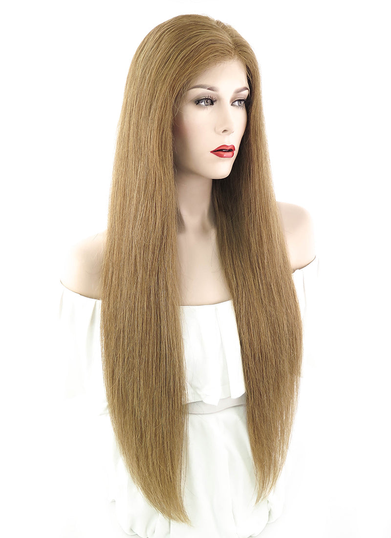 "26"" Long Straight Light Brown Lace Front Remy Natural Hair Wig HH076"