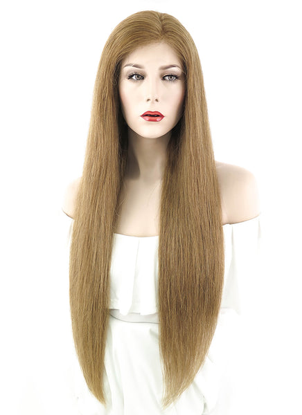 "26"" Long Straight Light Brown Lace Front Remy Human Hair Wig HH076 (FREE SHIPPING)"