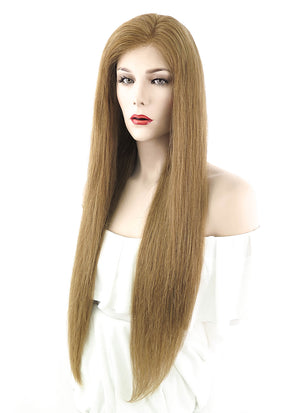 "26"" Long Straight Light Brown Lace Front Remy Natural Hair Wig HH076 - wifhair"