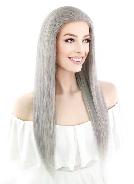 "20"" Long Straight Silver Grey Lace Front Remy Human Hair Wig HH077 (FREE SHIPPING)"