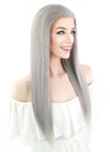 "20"" Long Straight Silver Grey Lace Front Remy Natural Hair Wig HH077 - wifhair"