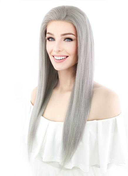 "20"" Long Straight Silver Grey Lace Front Chinese Remy Human Hair Wig HH077 (FREE SHIPPING)"