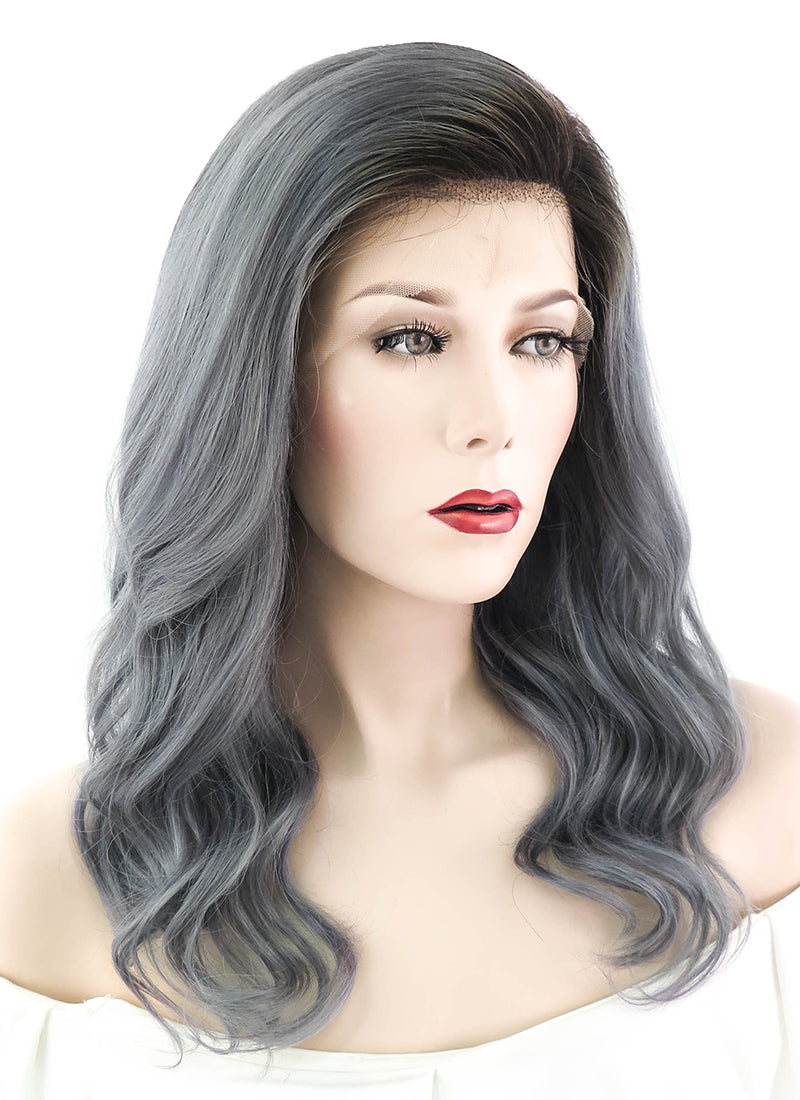 "16"" Long Curly Dark Grey With Brown Roots Lace Front Remy Natural Hair Wig HH078"