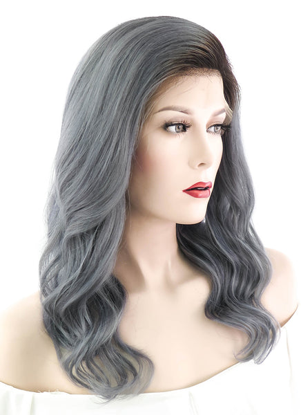"16"" Medium Curly Dark Grey With Brown Roots Lace Front Remy Human Hair Wig HH078 (FREE SHIPPING)"