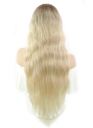 "26"" Long Curly Blonde With Brown Roots Full Lace Remy Natural Hair Wig HH079"