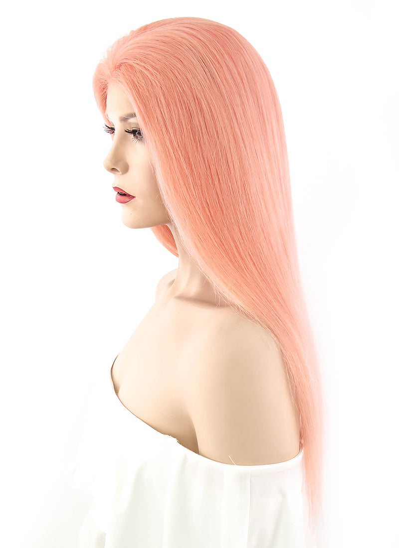 "20"" Long Straight Peach Pink Lace Front Remy Natural Hair Wig HH085 - wifhair"