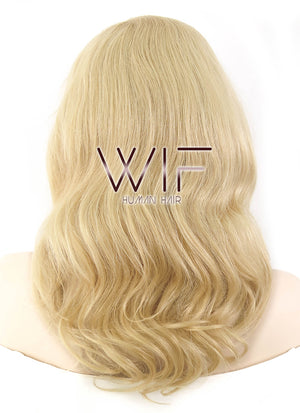 "16"" Long Wavy Honey Blonde Lace Front Remy Natural Hair Wig HH086"