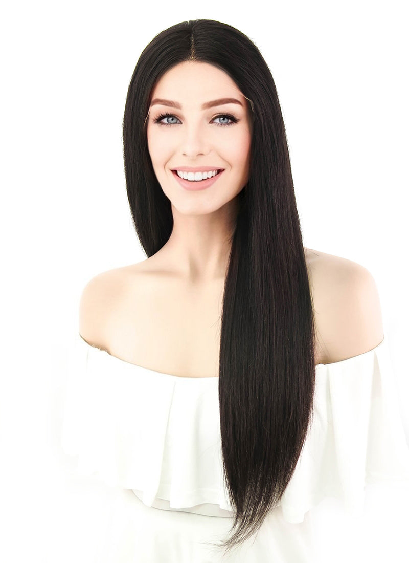 "20"" Long Straight Off Black Lace Front Remy Natural Hair Wig HH089 - wifhair"