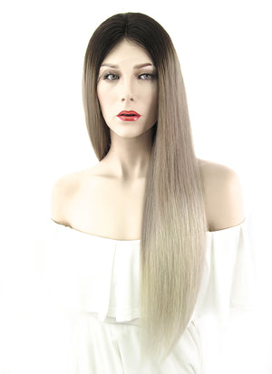 "22"" Long Straight Natural Ombre Balayage Lace Front Remy Natural Hair Wig HH091"