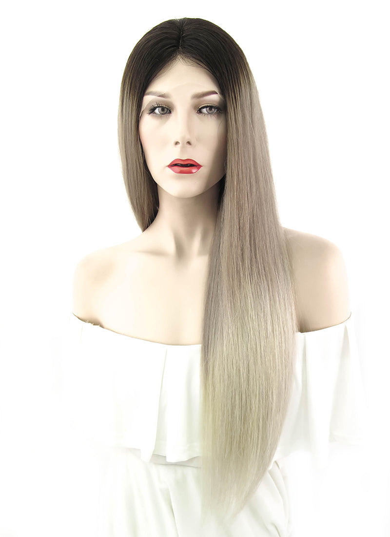 "22"" Long Straight Natural Ombre Balayage Lace Front Remy Natural Hair Wig HH091 - wifhair"