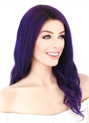 "16"" Long Wavy Purple Lace Front Remy Natural Hair Wig HH092 - wifhair"