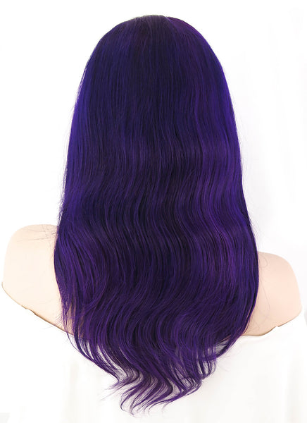 "16"" Medium Wavy Purple Lace Front Remy Human Hair Wig HH092 (FREE SHIPPING)"
