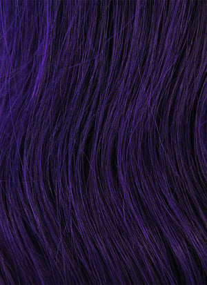 "16"" Long Wavy Purple Lace Front Remy Natural Hair Wig HH092"