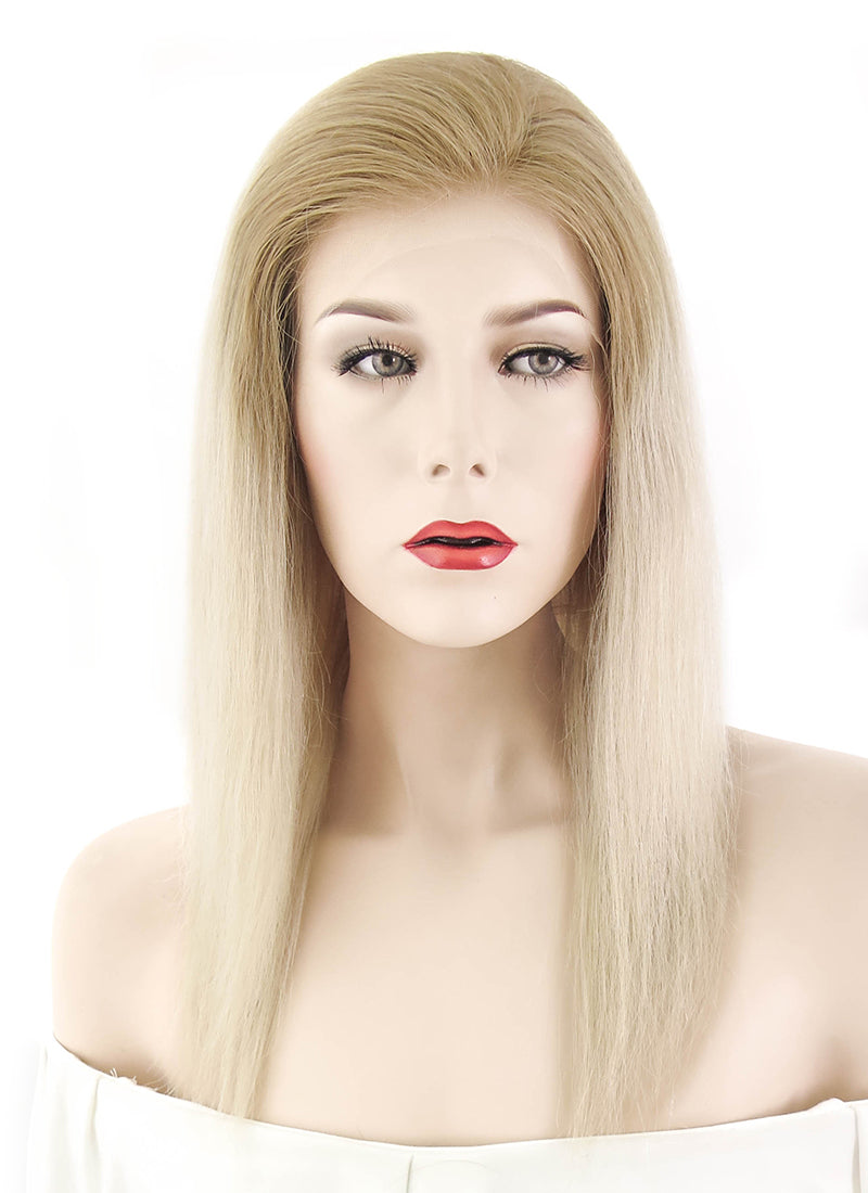 "12"" Long Straight Two Tone Blonde Lace Front Remy Natural Hair Wig HH095 - wifhair"