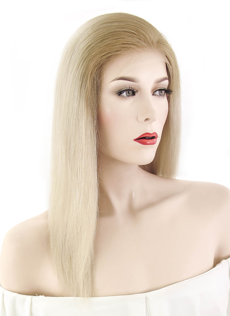 "12"" Long Straight Two Tone Blonde Lace Front Remy Natural Hair Wig HH095"