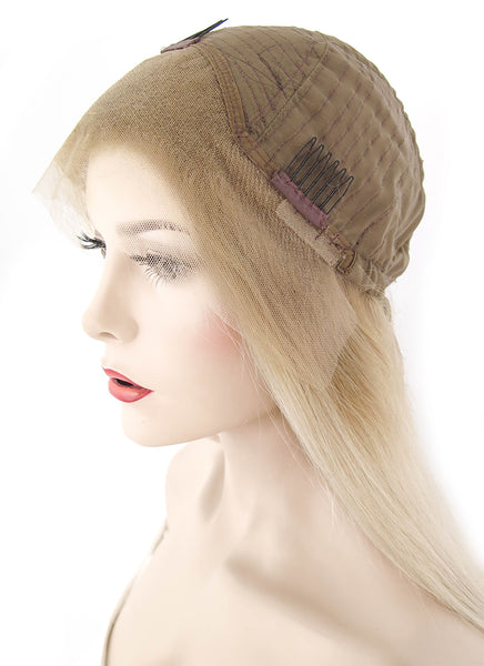 "12"" Short Straight Two Tone Blonde Lace Front Remy Human Hair Wig HH095 (FREE SHIPPING)"