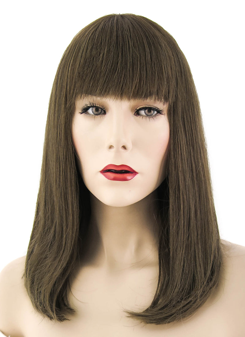 "12"" Long Straight Bob Greenish Brown Lace Front Remy Natural Hair Wig HH097 - wifhair"